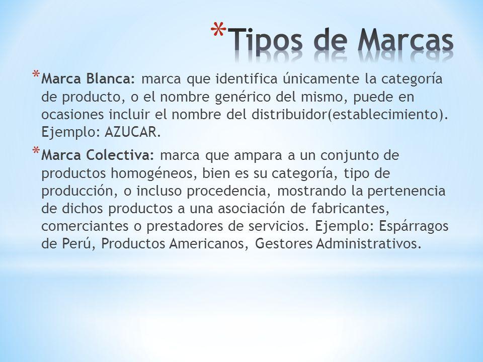 * Marca Blanca: marca que identifica únicamente la categoría de producto, o el nombre genérico del mismo, puede en ocasiones incluir el nombre del dis