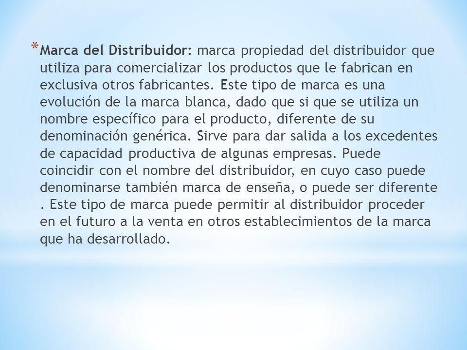 * Marca del Distribuidor: marca propiedad del distribuidor que utiliza para comercializar los productos que le fabrican en exclusiva otros fabricantes