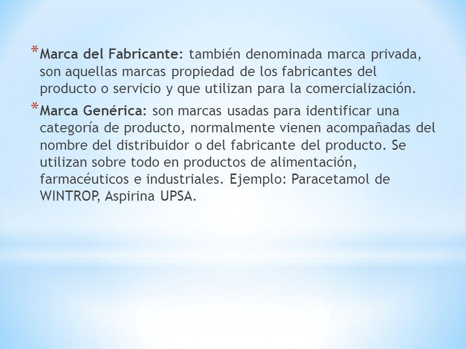 * Marca del Fabricante: también denominada marca privada, son aquellas marcas propiedad de los fabricantes del producto o servicio y que utilizan para
