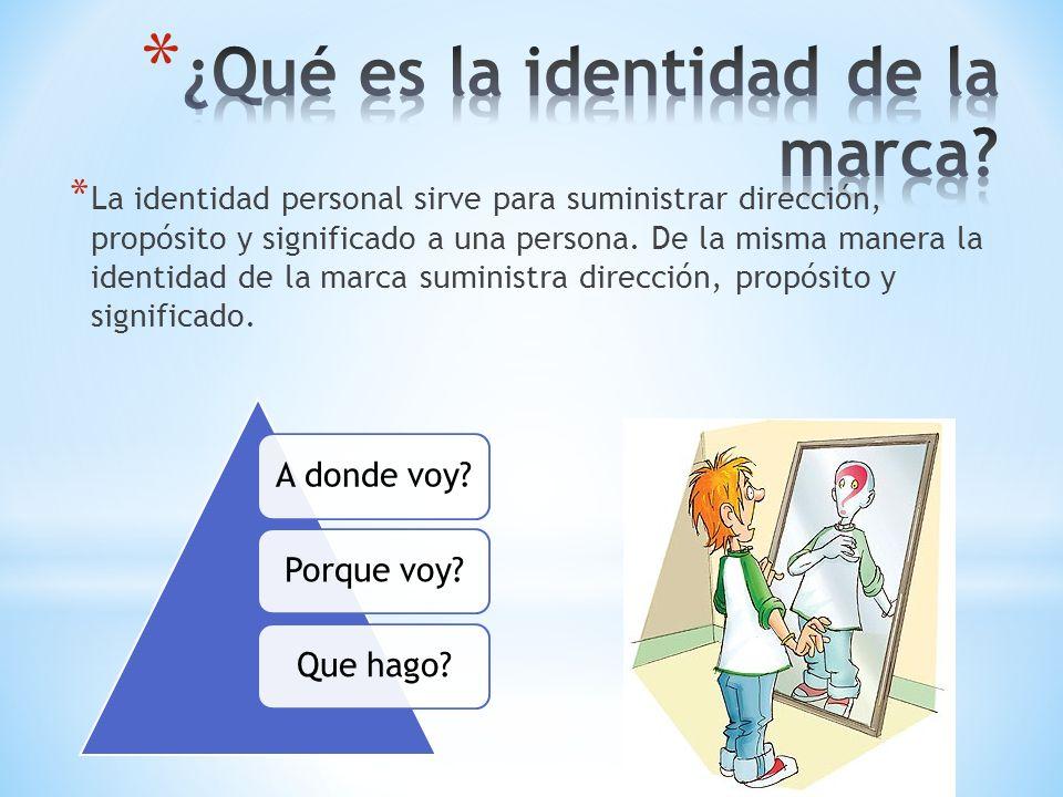 * La identidad personal sirve para suministrar dirección, propósito y significado a una persona. De la misma manera la identidad de la marca suministr
