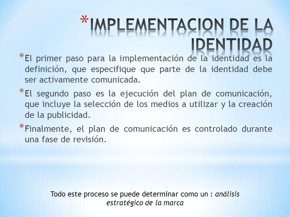 * El primer paso para la implementación de la identidad es la definición, que especifique que parte de la identidad debe ser activamente comunicada. *