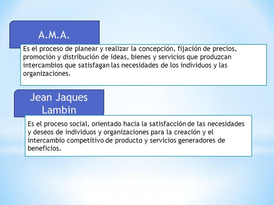 A.M.A. Es el proceso de planear y realizar la concepción, fijación de precios, promoción y distribución de ideas, bienes y servicios que produzcan int