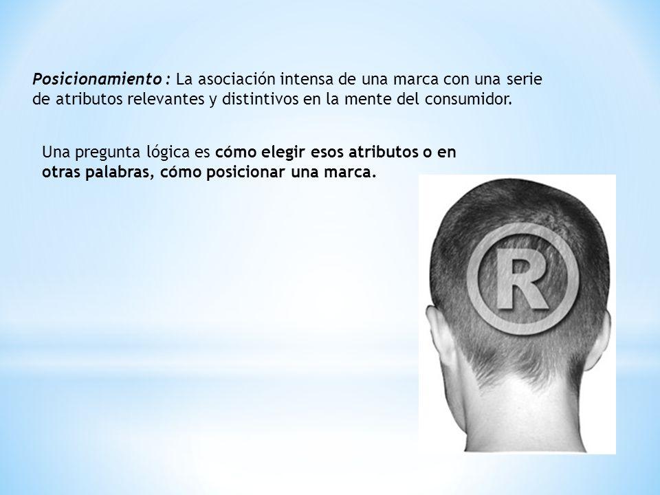 Posicionamiento : La asociación intensa de una marca con una serie de atributos relevantes y distintivos en la mente del consumidor. Una pregunta lógi