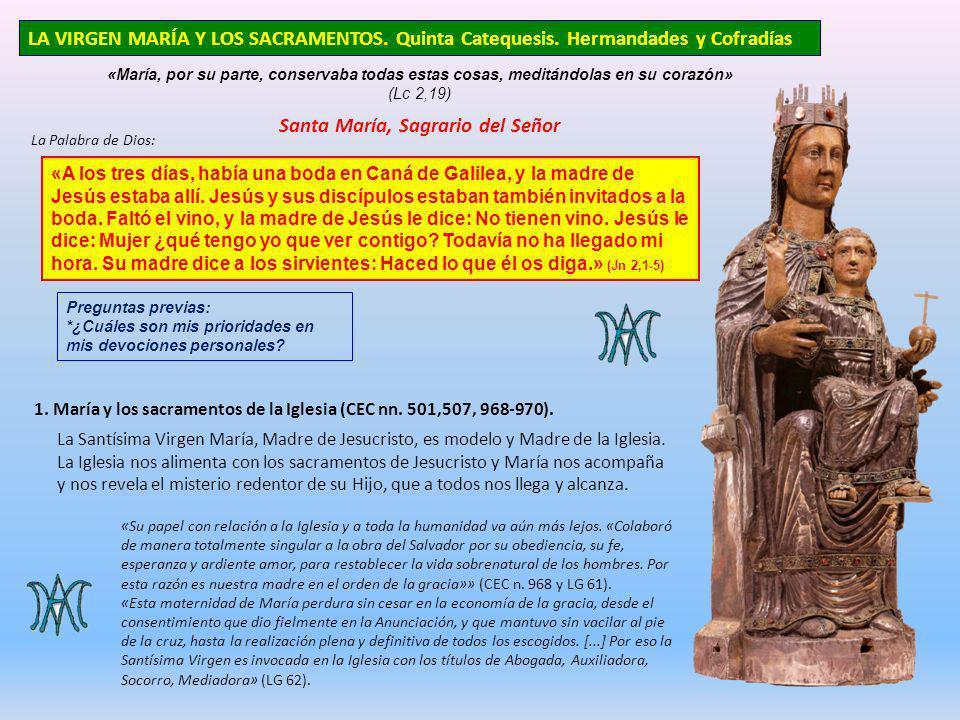 LA VIRGEN MARÍA Y LOS SACRAMENTOS. Quinta Catequesis. Hermandades y Cofradías «María, por su parte, conservaba todas estas cosas, meditándolas en su c