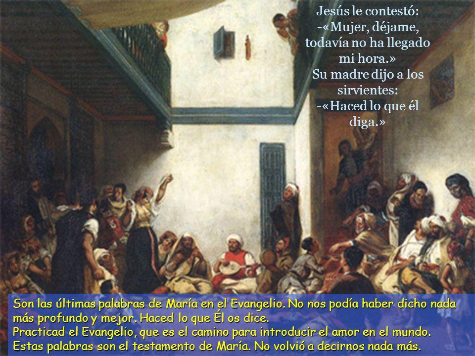 Faltó el vino, y la madre de Jesús le dijo: -«No les queda vino.» María participa en la fiesta de quienes gozan, bailan, disfrutan del vino, ríen, can