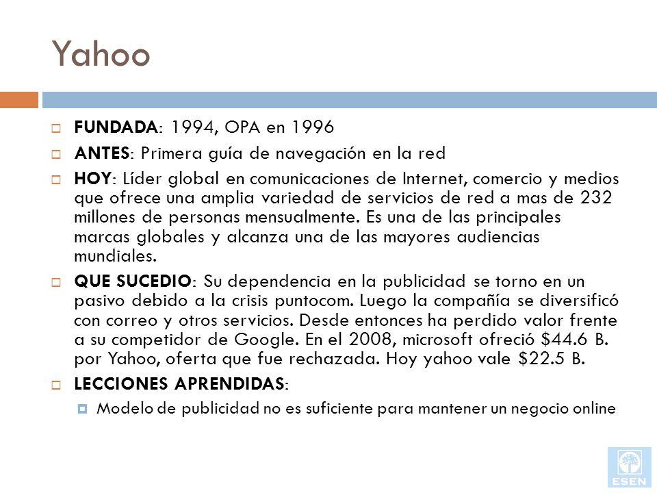 Yahoo FUNDADA: 1994, OPA en 1996 ANTES: Primera guía de navegación en la red HOY: Líder global en comunicaciones de Internet, comercio y medios que of