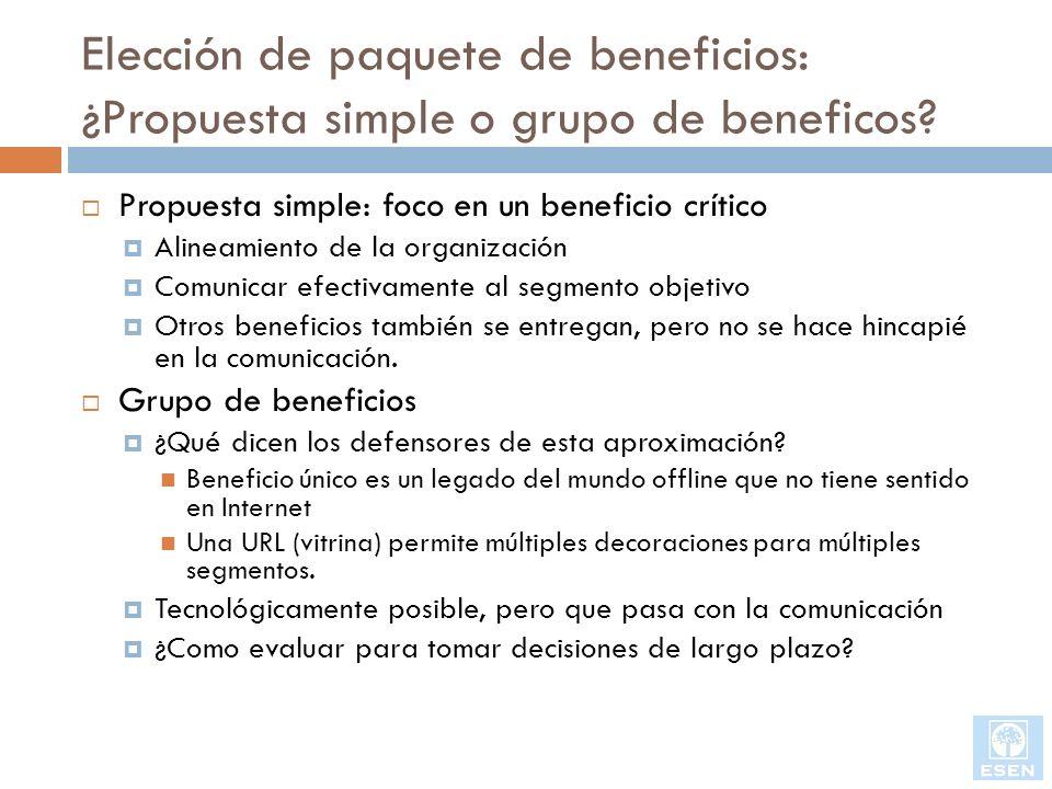 Elección de paquete de beneficios: ¿Propuesta simple o grupo de beneficos? Propuesta simple: foco en un beneficio crítico Alineamiento de la organizac