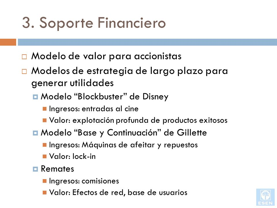 3. Soporte Financiero Modelo de valor para accionistas Modelos de estrategia de largo plazo para generar utilidades Modelo Blockbuster de Disney Ingre