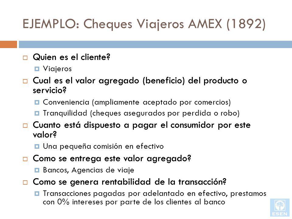 EJEMPLO: Cheques Viajeros AMEX (1892) Quien es el cliente? Cual es el valor agregado (beneficio) del producto o servicio? Cuanto está dispuesto a paga