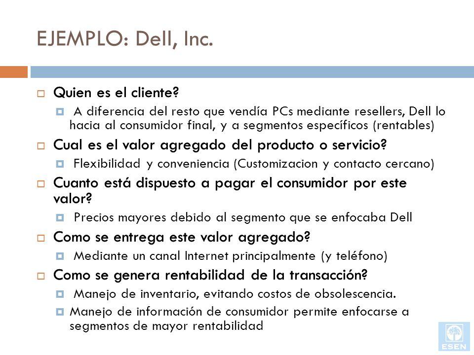 EJEMPLO: Dell, Inc. Quien es el cliente? Cual es el valor agregado del producto o servicio? Cuanto está dispuesto a pagar el consumidor por este valor