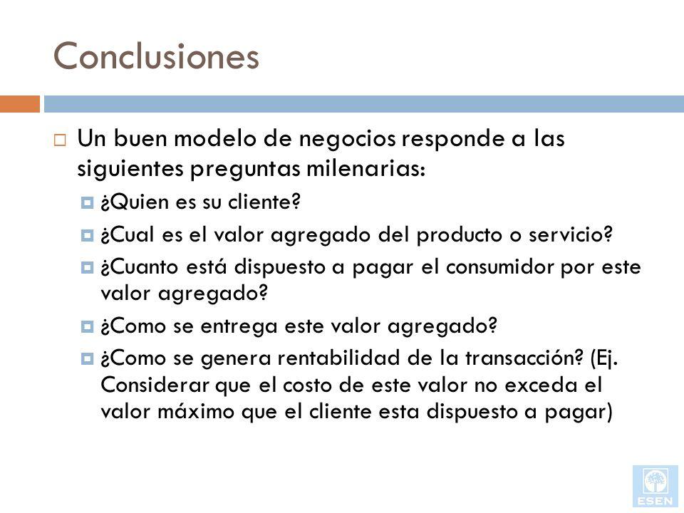 Conclusiones Un buen modelo de negocios responde a las siguientes preguntas milenarias: ¿Quien es su cliente? ¿Cual es el valor agregado del producto