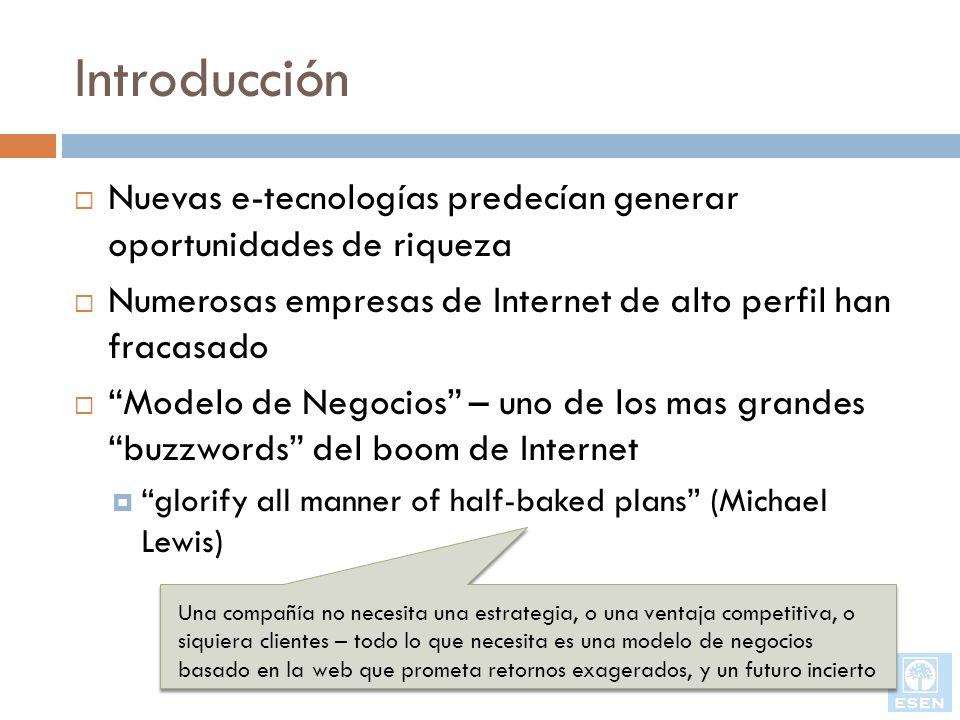 Introducción Nuevas e-tecnologías predecían generar oportunidades de riqueza Numerosas empresas de Internet de alto perfil han fracasado Modelo de Neg