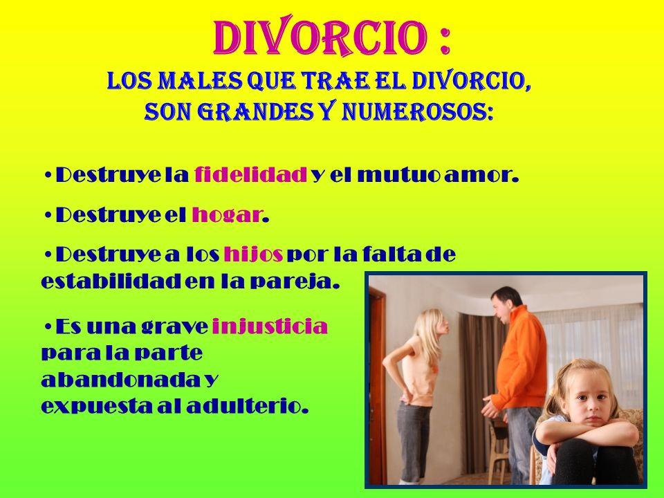EL ADULTERIO : Es una infidelidad conyugal (relación extramatrimonial). El adulterio lesiona los derechos de justicia del otro cónyuge.