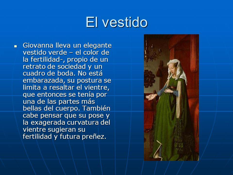 El vestido Giovanna lleva un elegante vestido verde – el color de la fertilidad-, propio de un retrato de sociedad y un cuadro de boda. No está embara