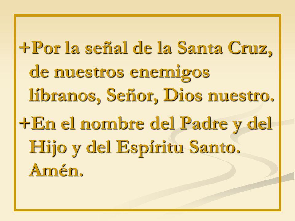 +Por la señal de la Santa Cruz, de nuestros enemigos líbranos, Señor, Dios nuestro. +En el nombre del Padre y del Hijo y del Espíritu Santo. Amén.