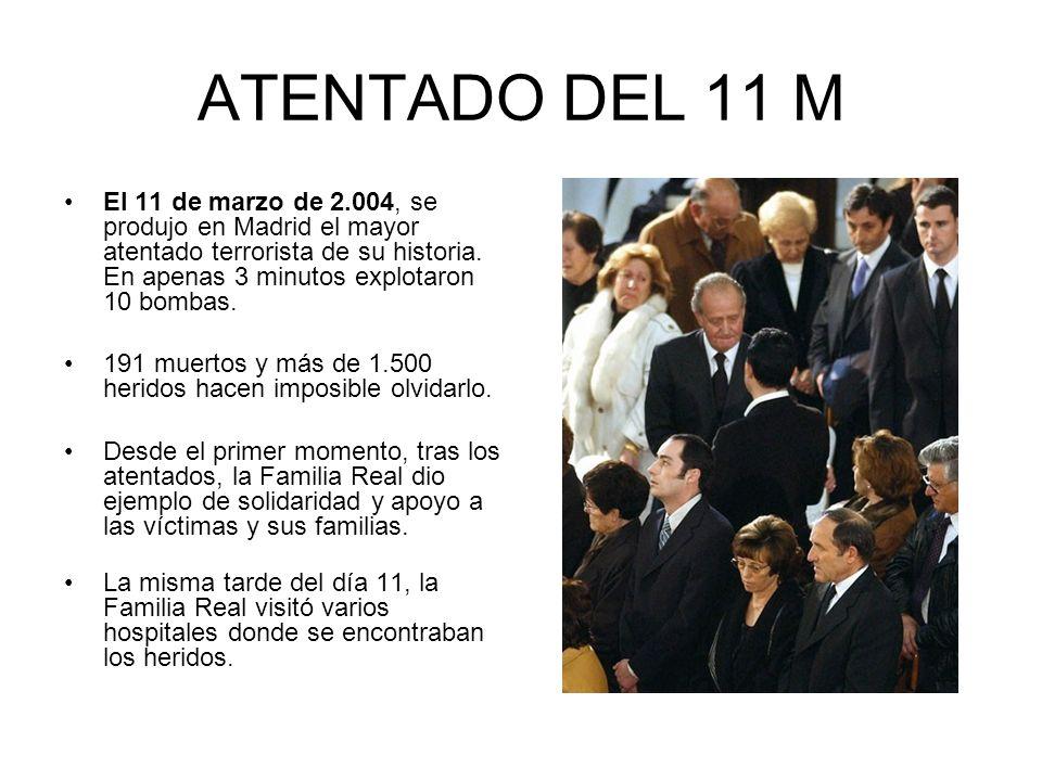 ATENTADO DEL 11 M El 11 de marzo de 2.004, se produjo en Madrid el mayor atentado terrorista de su historia. En apenas 3 minutos explotaron 10 bombas.