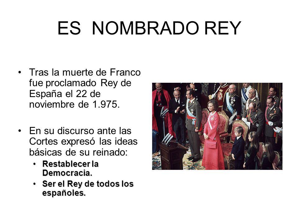 ES NOMBRADO REY Tras la muerte de Franco fue proclamado Rey de España el 22 de noviembre de 1.975. En su discurso ante las Cortes expresó las ideas bá
