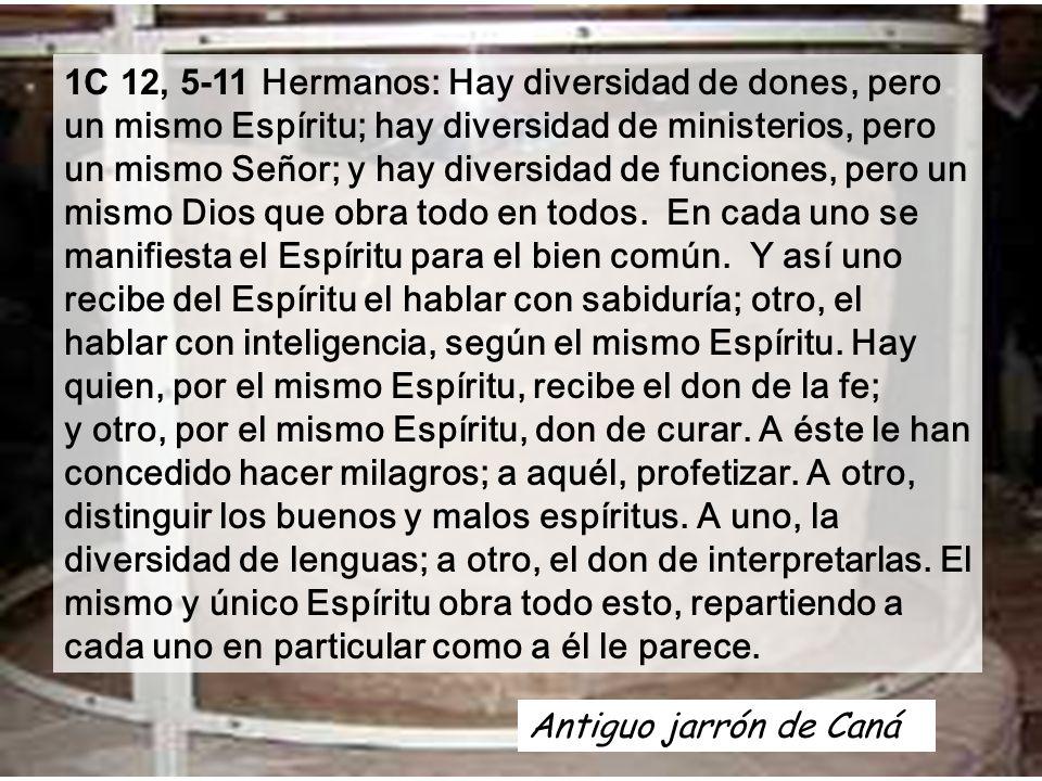 1C 12, 5-11 Hermanos: Hay diversidad de dones, pero un mismo Espíritu; hay diversidad de ministerios, pero un mismo Señor; y hay diversidad de funciones, pero un mismo Dios que obra todo en todos.