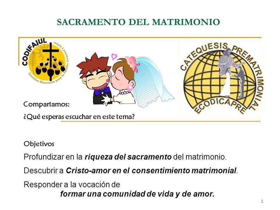 1 SACRAMENTO DEL MATRIMONIO Compartamos: ¿Qué esperas escuchar en este tema? Objetivos Profundizar en la riqueza del sacramento del matrimonio. Descub
