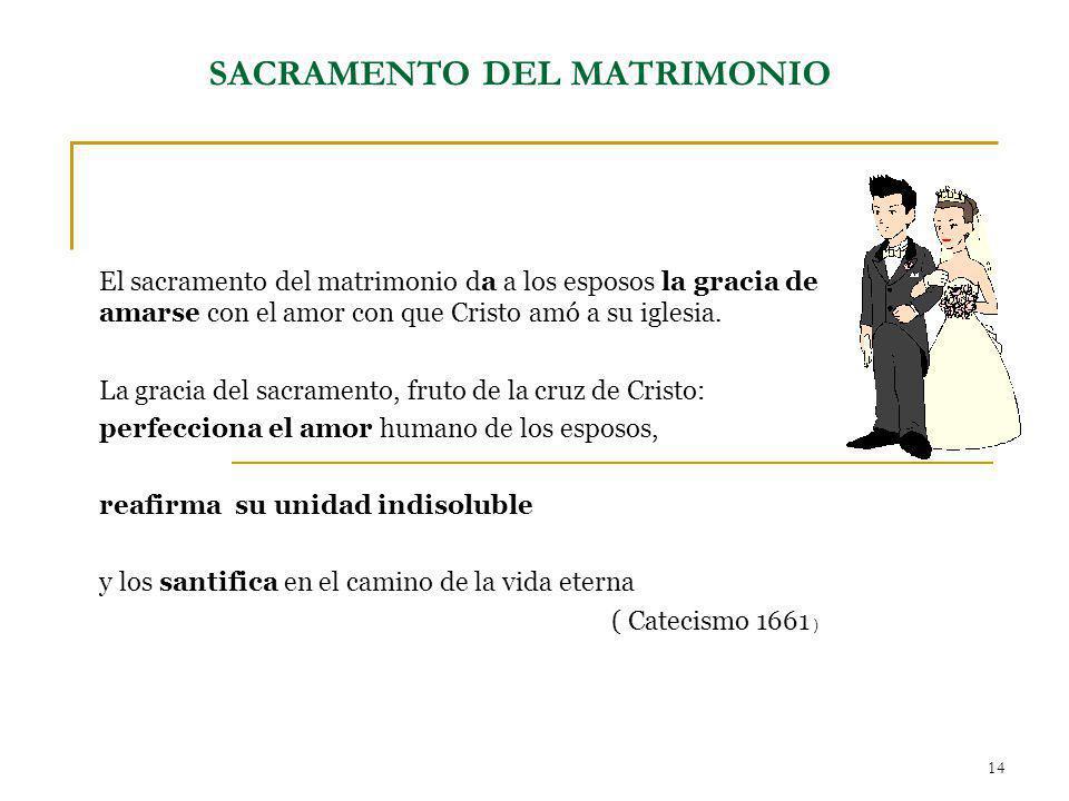 14 El sacramento del matrimonio da a los esposos la gracia de amarse con el amor con que Cristo amó a su iglesia. La gracia del sacramento, fruto de l