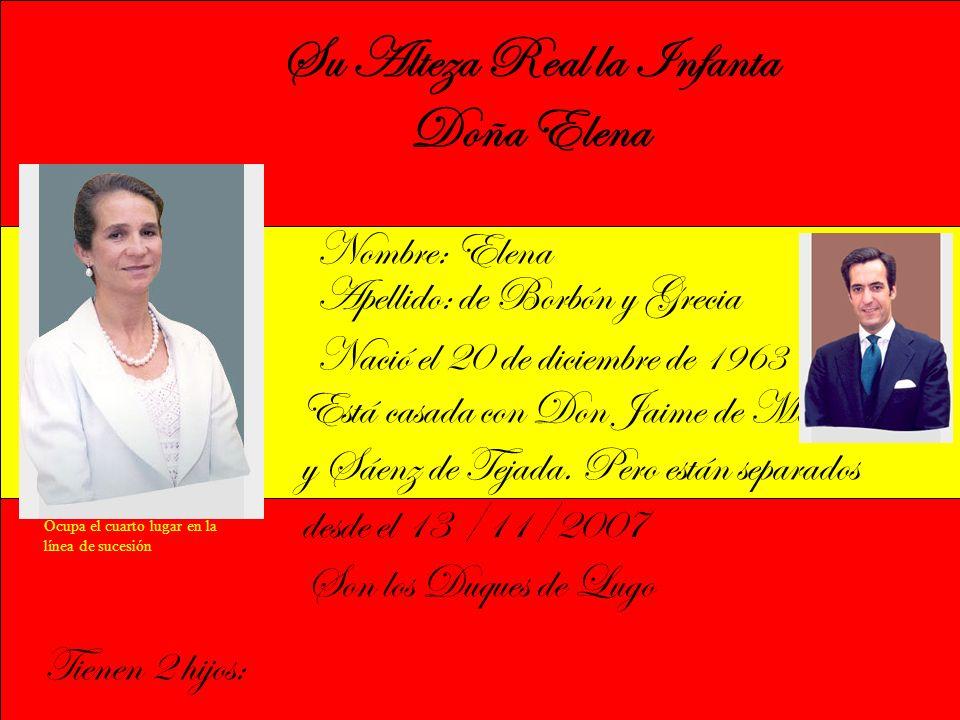 Su Alteza Real la Infanta Doña Elena Nombre: Elena Apellido: de Borbón y Grecia Nació el 20 de diciembre de 1963 Está casada con Don Jaime de Marichalar y Sáenz de Tejada.