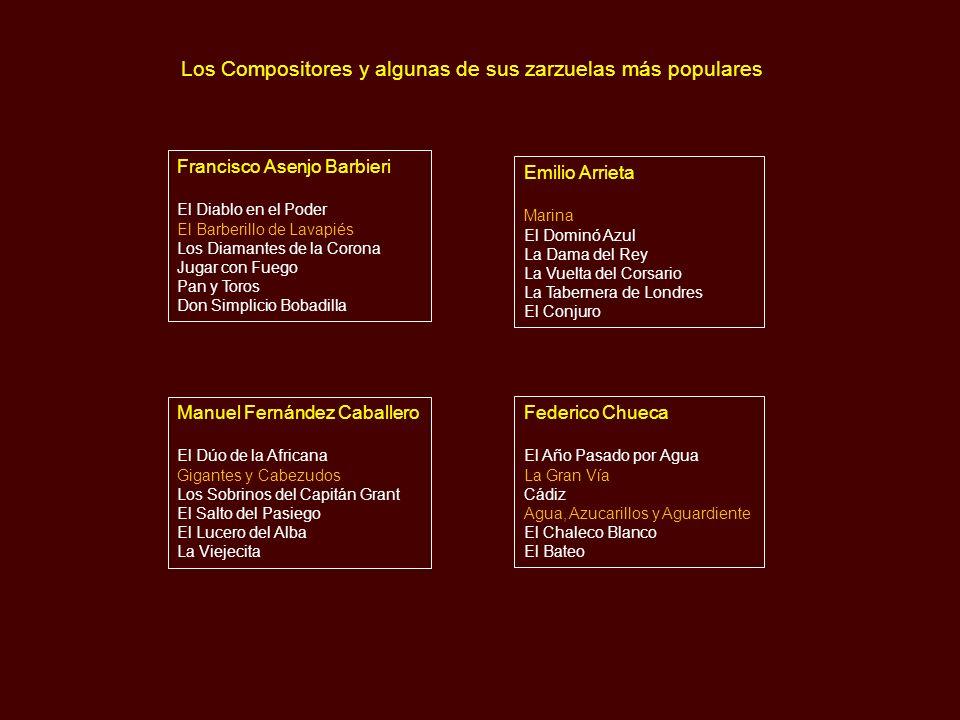 Cronología de los Compositores de Zarzuelas Francisco Asenjo Barbieri Emilio Arrieta Manuel Fernández Caballero Federico Chueca Tomás Bretón Ruperto C