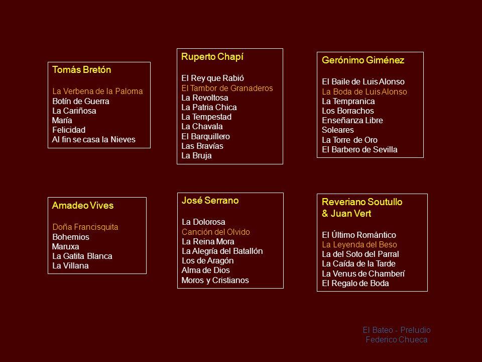 Los Compositores y algunas de sus zarzuelas más populares Federico Chueca El Año Pasado por Agua La Gran Vía Cádiz Agua, Azucarillos y Aguardiente El