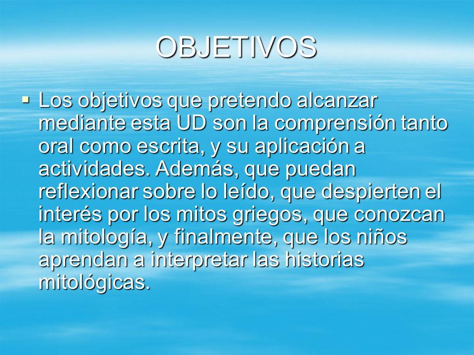 OBJETIVOS Los objetivos que pretendo alcanzar mediante esta UD son la comprensión tanto oral como escrita, y su aplicación a actividades. Además, que