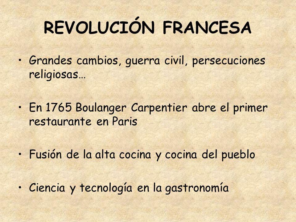 REVOLUCIÓN FRANCESA Grandes cambios, guerra civil, persecuciones religiosas… En 1765 Boulanger Carpentier abre el primer restaurante en Paris Fusión d