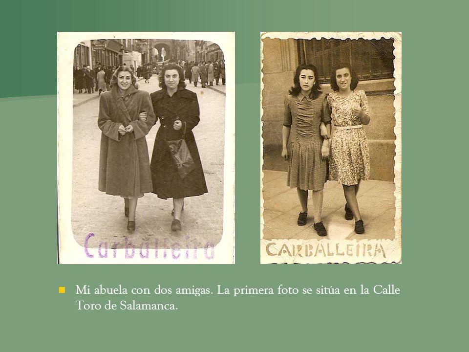 Mi abuela con dos amigas. La primera foto se sitúa en la Calle Toro de Salamanca.