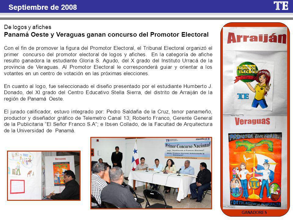 De logos y afiches Panamá Oeste y Veraguas ganan concurso del Promotor Electoral Con el fin de promover la figura del Promotor Electoral, el Tribunal Electoral organizó el primer concurso del promotor electoral de logos y afiches.