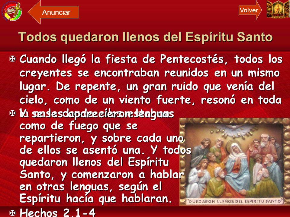 Todos quedaron llenos del Espíritu Santo María con el don del Espíritu nos acompaña como discípulos misioneros a todos los pueblos. María con el don d