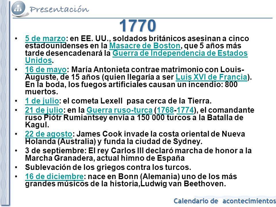 Calendario de acontecimientos 1771 Publicación de la 1ª edición de la Gramática de la lengua española de la Real Academia Española.