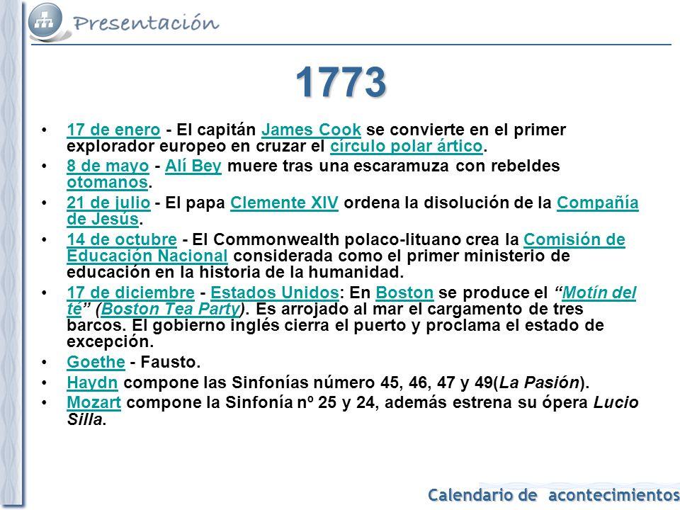 Calendario de acontecimientos 1774 25 de marzo: el parlamento británico promulga la clausura del puerto de Boston.25 de marzo Boston 10 de mayo: sube al trono Luis XVI de Francia.10 de mayoLuis XVI de Francia 5 de septiembre: se reúne en Filadelfia el primer Congreso Continental de las colonias estadounidenses.5 de septiembreFiladelfiaCongreso Continental coloniasestadounidenses