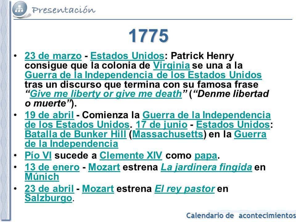Calendario de acontecimientos 1776 13 de enero - George Washington, al frente de sus tropas, entra triunfante en Nueva York.13 de eneroGeorge WashingtonNueva York 4 de julio - Declaración de Independencia de los Estados Unidos en los Estados Unidos de América es aprobada por delegaciones de las 13 colonias británicas en el Congreso Continental en Filadelfia, Pensilvania.
