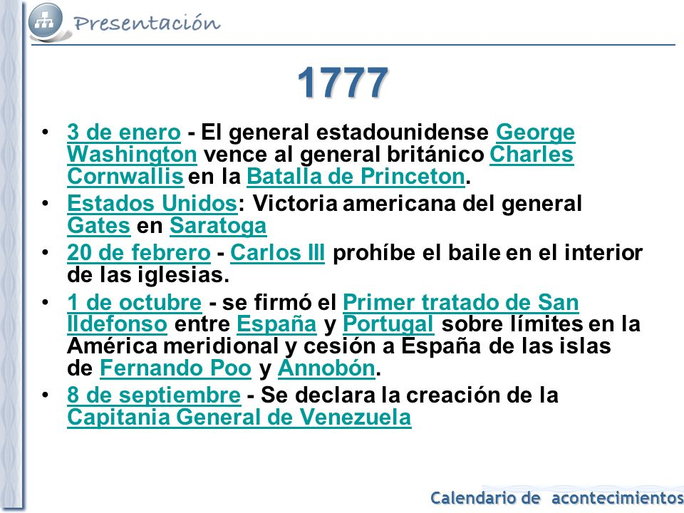 Calendario de acontecimientos 1808 Se prohíbe la importación de esclavos en Estados Unidos.importaciónesclavos Estados Unidos Carlos IV de España abdica en favor de su hijo, Fernando VIICarlos IV de EspañaFernando VII 2 de mayo - Guerra de la Independencia Española: Levantamiento del 2 de mayo y Bando de los Alcaldes de Móstoles (Madrid), contra las tropas francesas de Napoleón.2 de mayoGuerra de la Independencia EspañolaLevantamiento del 2 de mayoMóstoles (Madrid)Napoleón Napoleón cede la corona de España a su hermano José Bonaparte