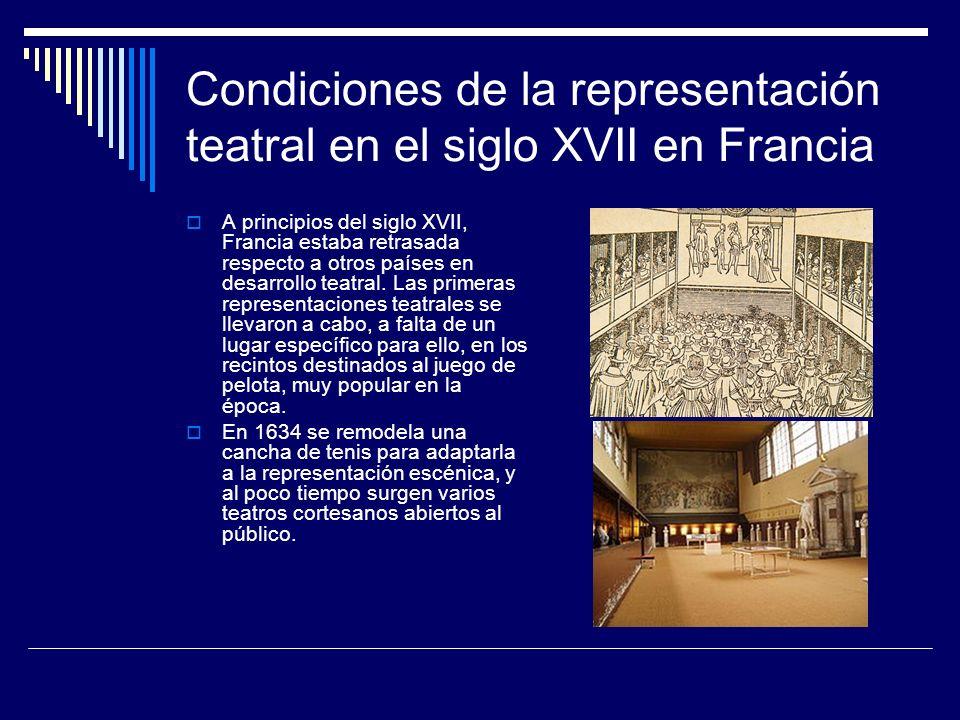 Condiciones de la representación teatral en el siglo XVII en Francia A principios del siglo XVII, Francia estaba retrasada respecto a otros países en