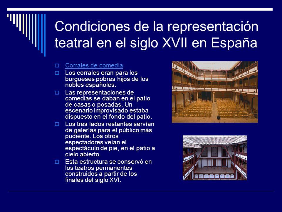 Condiciones de la representación teatral en el siglo XVII en España Corrales de comedia Los corrales eran para los burgueses pobres hijos de los noble