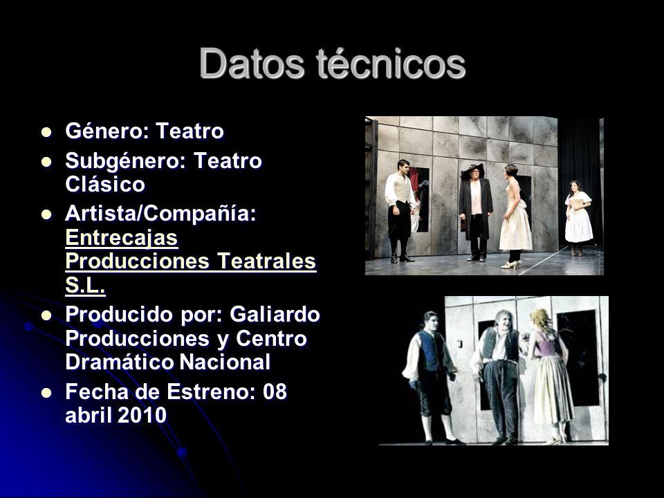 Datos técnicos Género: Teatro Género: Teatro Subgénero: Teatro Clásico Subgénero: Teatro Clásico Artista/Compañía: Entrecajas Producciones Teatrales S