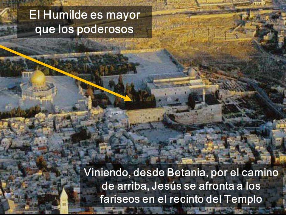 Viniendo, desde Betania, por el camino de arriba, Jesús se afronta a los fariseos en el recinto del Templo El Humilde es mayor que los poderosos