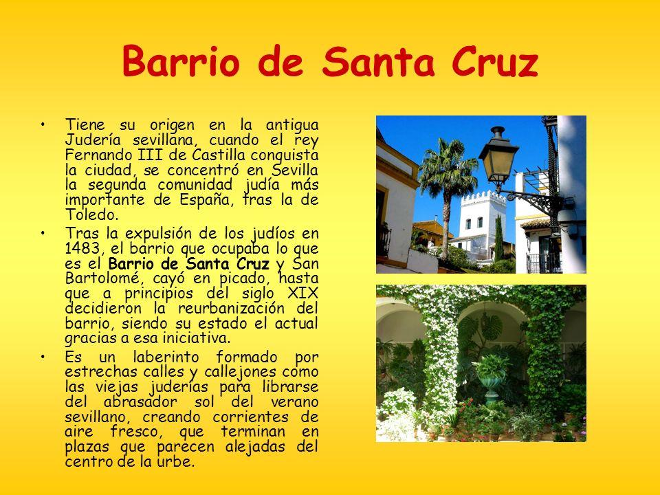 Barrio de Santa Cruz Tiene su origen en la antigua Judería sevillana, cuando el rey Fernando III de Castilla conquista la ciudad, se concentró en Sevi