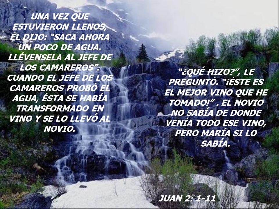 MARÍA NOTÓ EL PROBLEMA QUE TENÍA EL NOVIO.FUE DONDE JESÚS Y LE DIJO: NO TIENEN VINO.