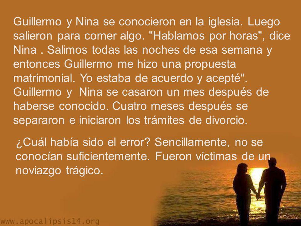 Guillermo y Nina se conocieron en la iglesia.Luego salieron para comer algo.