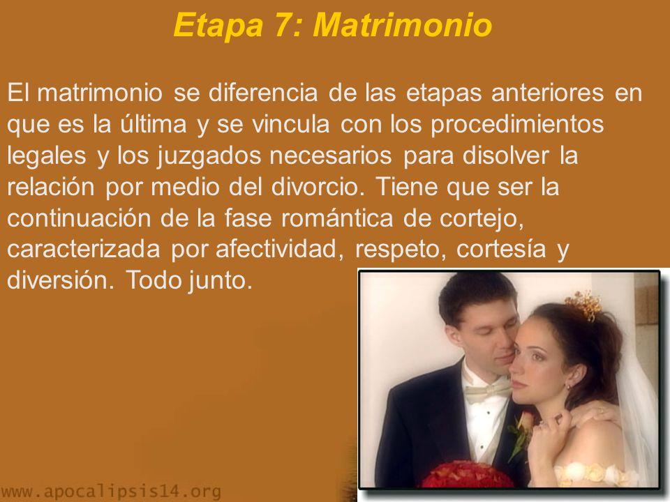 Etapa 7: Matrimonio El matrimonio se diferencia de las etapas anteriores en que es la última y se vincula con los procedimientos legales y los juzgados necesarios para disolver la relación por medio del divorcio.