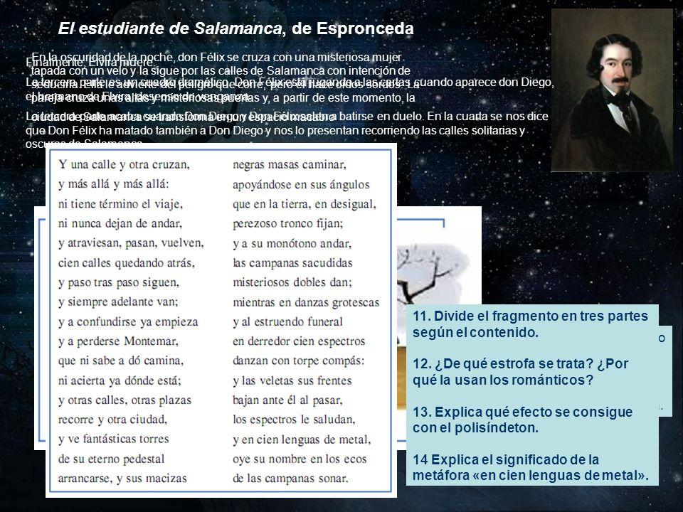 El estudiante de Salamanca, de Espronceda Finalmente, Elvira muere. La tercera parte es un cuadro dramático. Don Félix está jugando a las cartas cuand