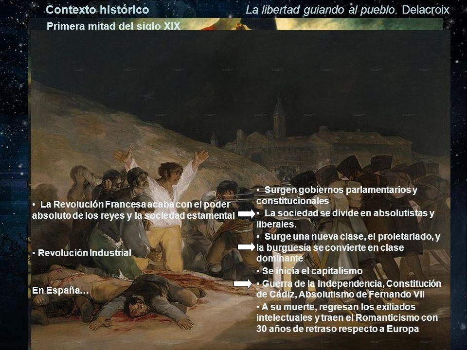 Contexto históricoLa libertad guiando al pueblo. Delacroix Primera mitad del siglo XIX La Revolución Francesa acaba con el poder absoluto de los reyes