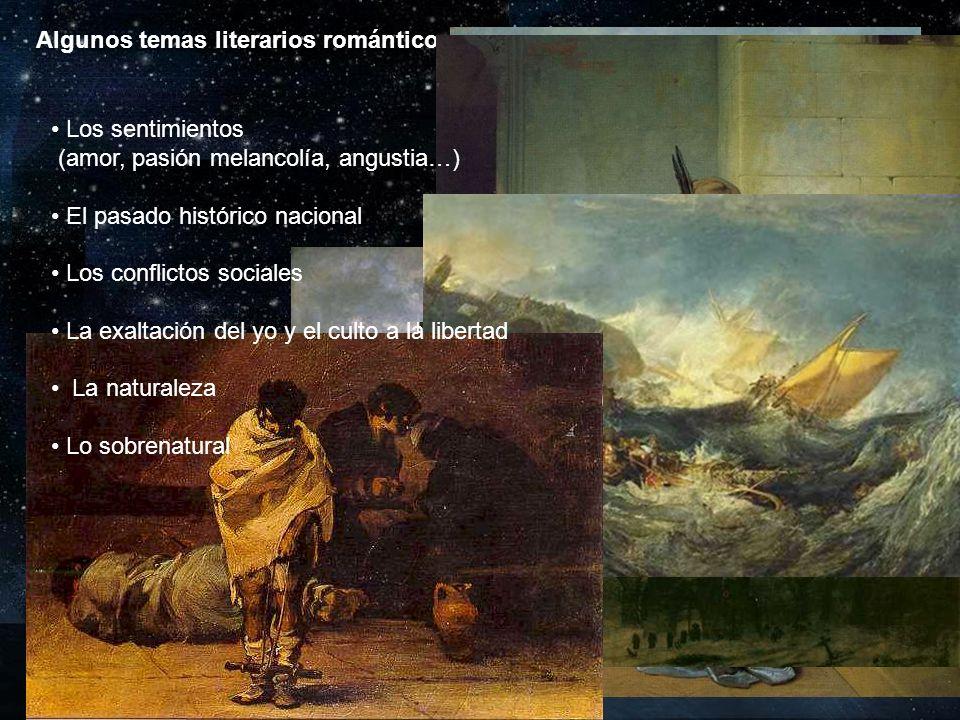 Algunos temas literarios románticos Los sentimientos (amor, pasión melancolía, angustia…) El pasado histórico nacional Los conflictos sociales La exal
