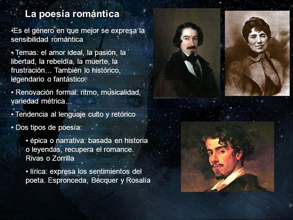 La poesía romántica Es el género en que mejor se expresa la sensibilidad romántica Temas: el amor ideal, la pasión, la libertad, la rebeldía, la muert