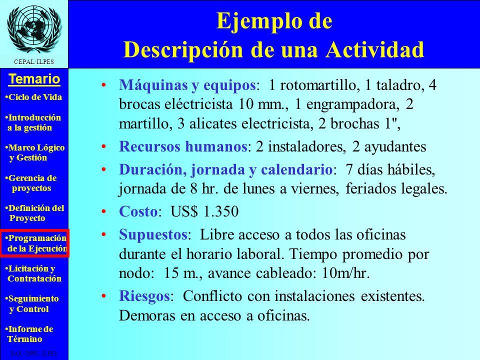 Ciclo de Vida Introducción a la gestión Marco Lógico y Gestión Gerencia de proyectos Definición del Proyecto Programación de la Ejecución Licitación y Contratación Seguimiento y Control Informe de Término Temario CEPAL/ILPES EAR - DPPI - ILPES Ejemplo de Descripción de una Actividad Código: A.2.2 Nombre: Instalación cableado red Descripción: Provision e instalación de 340 mt.