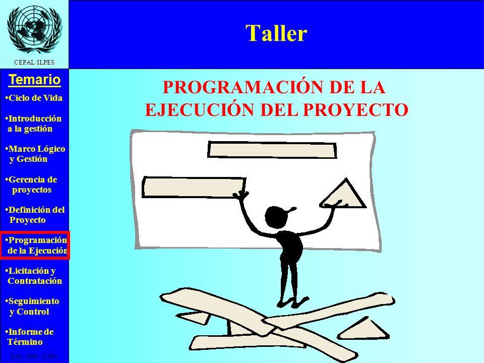 Ciclo de Vida Introducción a la gestión Marco Lógico y Gestión Gerencia de proyectos Definición del Proyecto Programación de la Ejecución Licitación y Contratación Seguimiento y Control Informe de Término Temario CEPAL/ILPES EAR - DPPI - ILPES Carta Gantt en MS Project